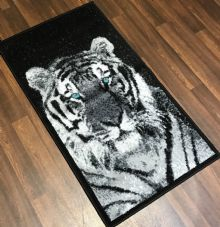 Modern Approx 4x2 60x110cm Woven Top Quality Tiger Rugs/Mats Black/Silvers Blue